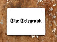 The Telegraph newspaper logo. Logo of The Telegraph newspaper on samsung tablet. The Telegraph is a national British daily broadsheet newspaper published in Stock Photos