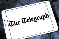 The Telegraph newspaper logo. Logo of The Telegraph newspaper on samsung tablet. The Telegraph is a national British daily broadsheet newspaper published in Stock Photography