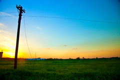 Telegraph pole at dusk Stock Image
