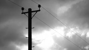 Telegraph Pole. An old-fashioned telegraph pole as still found throughout rural areas of England Stock Photo