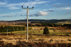 A  telegraph pole on Scotland highland mountain Stock Image