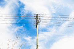 Telegraph Pole. Wire rod sky clouds in the background Stock Images