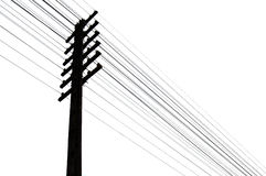 Telegraph wires. Silhouette of telegraph pole and wires Stock Photos