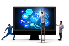 The telehealth concept with doctor doing remote check-up stock photography