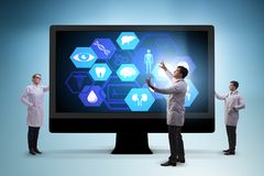 The telehealth concept with doctor doing remote check-up stock photos
