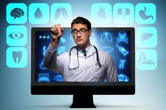 The telehealth concept with doctor doing remote check-up royalty free stock photo