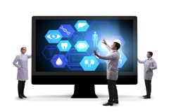 The telehealth concept with doctor doing remote check-up stock images