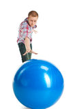 Telekinesis. The young man moves a sphere effort of thought Stock Photo