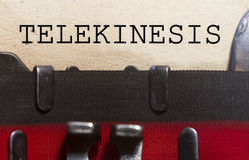 Telekinesis. Typed on an old vintage paper with od typewriter font Royalty Free Stock Photo
