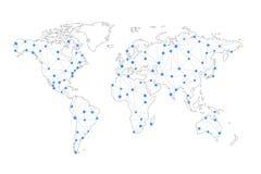 Telekommunikationanslutning fodrar, världskartan som isoleras på vit Royaltyfri Foto