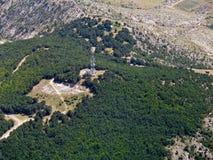 Telekommunikationskontrollturm, von der Luft Stockfotografie
