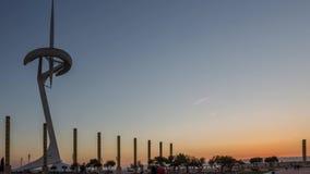 10 03 2017 Telekommunikationsturm Timelaps Calatrava in Barcelona stock footage
