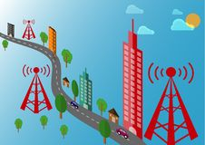Telekommunikationtorn- och sändaretornlandskap med bilen och träd Royaltyfria Bilder