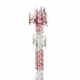 Telekommunikationtorn som isoleras på vit Arkivfoton