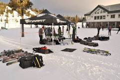 Telemark Festival. Setting up for the annual Telemark Festival at Hoodoo ski resort in Oregon.  This is the largest telemark event west of the Mississippi Stock Photography