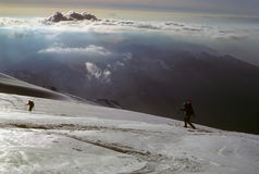 Telemark skiers on ascent of Mt Baker Royalty Free Stock Photography