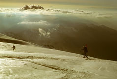 Telemark skiers on ascent of Mt Baker Stock Image