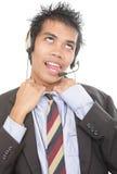 Telemarketer boccheggiante che allenta collare Fotografia Stock