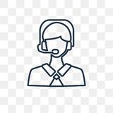 Telemarketer vector icon isolated on transparent background, lin vector illustration