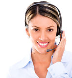 Telemarketing agent with headset Royalty Free Stock Photos