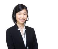 Telemarketing headset businesswoman Stock Photo