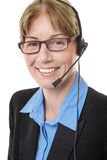 Telemarketing headset woman Stock Images