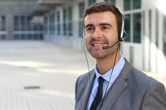 Telemarketing operator isolated in office space.  Royalty Free Stock Image
