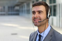 Telemarketing operator isolated in office space.  Royalty Free Stock Photography