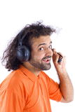 Telemarketing Support. Happy Telemarketing employee on white Royalty Free Stock Photography