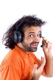 Telemarketing Support. Happy Telemarketing employee on white Royalty Free Stock Images