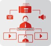 Telematics icons. Red logistics icons royalty free illustration