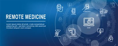 Telemedicine abstract idea with icons illustrating remote health. Telemedicine abstract idea - icons illustrating remote health and software vector illustration