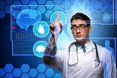 The telemedicine concept with doctor pressing virtual buttons. Telemedicine concept with doctor pressing virtual buttons Stock Photo