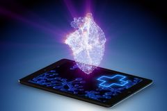 The telemedicine concept with remote monitoring of heart condition vector illustration