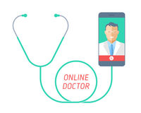 Telemedicine concept. Stethoscope with mobile phone, doctor on t Stock Photography