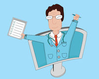 Telemedicine flat line illustrationя .Smiling male doctor with medical tests and pen Stock Images