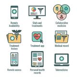 Telemedicine and Health Records Icon Set with Caduceus, file fol. Telemedicine and Health Records Icon Set w Caduceus, file folders, computers, etc Royalty Free Stock Photo