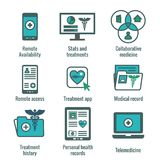 Telemedicine and Health Records Icon Set with Caduceus, file fol. Telemedicine and Health Records Icon Set w Caduceus, file folders, computers, etc Stock Photo