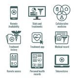 Telemedicine and Health Records Icon Set with Caduceus, file fol. Telemedicine and Health Records Icon Set w Caduceus, file folders, computers, etc Stock Images