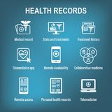 Telemedicine and Health Records Icon Set with Caduceus, file fol. Telemedicine and Health Records Icon Set w Caduceus, file folders, computers, etc Stock Photography