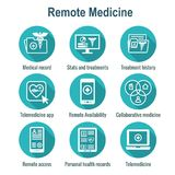 Telemedicine and Health Records Icon Set with Caduceus, file fol. Telemedicine and Health Records Icon Set w Caduceus, file folders, computers, etc Royalty Free Stock Photos