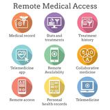Telemedicine and Health Records Icon Set with Caduceus, file fol. Telemedicine and Health Records Icon Set w Caduceus, file folders, computers, etc Stock Image