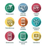 Telemedicine and Health Records Icon Set with Caduceus, file fol. Telemedicine and Health Records Icon Set w Caduceus, file folders, computers, etc Royalty Free Stock Image