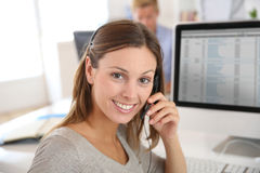 Teleoperator in action with headset Royalty Free Stock Photos