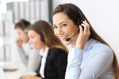 Teleoperator working looking at you Royalty Free Stock Photography