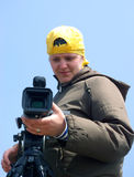 Teleoperatore con la videocamera fotografia stock