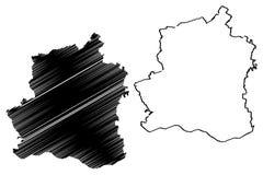 Teleorman County administrativa uppdelningar av Rum?nien, Sud - illustrationen f?r vektorn f?r ?versikten f?r den Muntenia utveck stock illustrationer