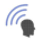 Telepathy Waves Halftone Dotted Icon royalty free illustration