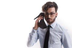 Telephon divertido del hombre imágenes de archivo libres de regalías