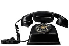Telephone. A vintage black telephone on white - with clipping path (works fine as a silhouette, too Stock Photo